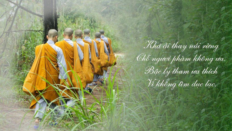 Trong rừng, Ni chúng tu hành hạnh thiểu dục tri túc, sống độc cư và hạnh nhẫn nhục trước những nghịch cảnh bên ngoài, tiến đến thực hành miên mật các pháp giải thoát của chư Phật