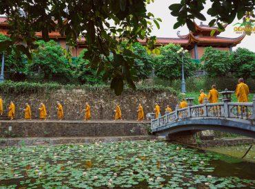 Chư Tăng chùa Ba Vàng khất thực trong khuôn viên bổn tự.