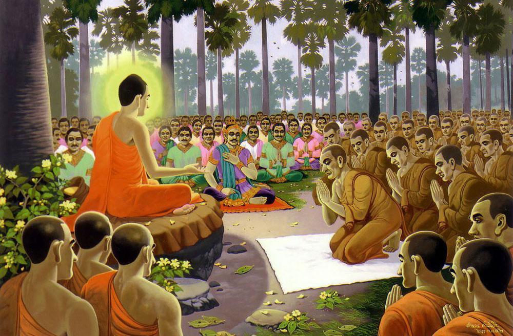 Đức Phật diễn đàn thuyết Pháp cho các hàng đệ tử Phật