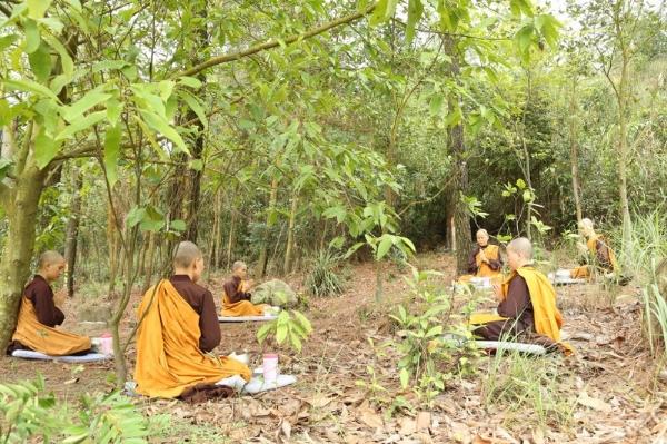Chư Ni chùa Ba Vàng nhập rừng thực hành Pháp.
