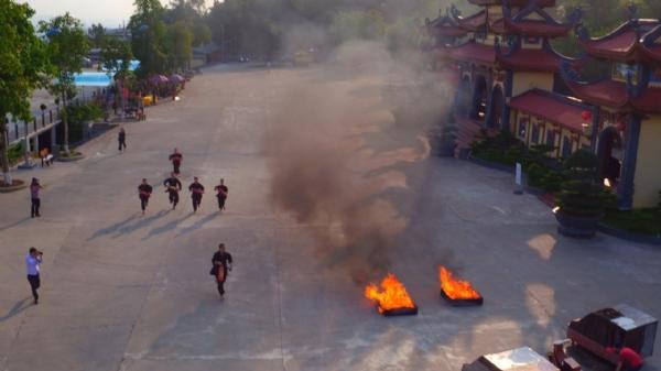 Buổi thực tập Phương án chữa cháy và cứu hộ tại chùa Ba Vàng.