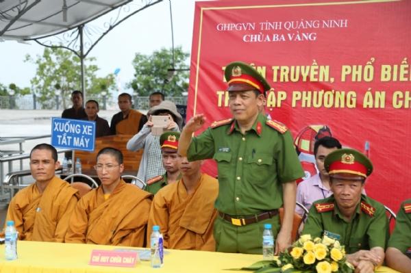 Đại tá Vũ Văn Dương – Phó giám đốc Cảnh sát PCCC tỉnh Quảng Ninh tham dự buổi diễn tập.