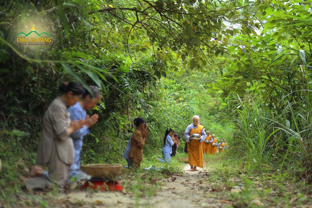 Phật tử trong CLB Cúc Vàng - Tập Tu Lục Hòa thành kính chắp tay trang nghiêm