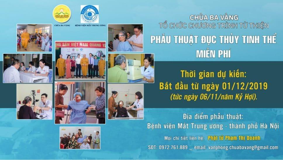 Thông báo về việc đăng ký danh sách chương trình từ thiện phẫu thuật đục thủy tinh thể miễn phí - chùa Ba Vàng