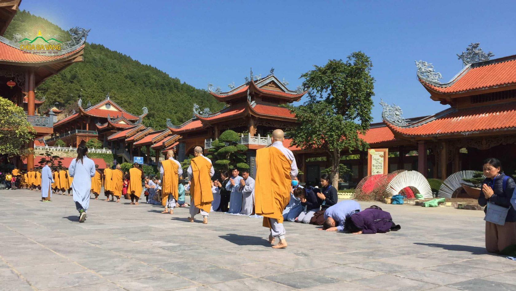 Phật tử Nguyễn Thị Linh (áo tím) đê đầu đảnh lễ Tăng đoàn trì bình khất thực