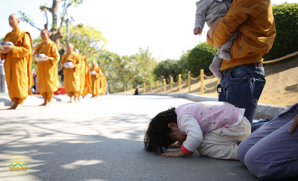 Em bé thành kính đảnh lễ Tăng đoàn trì bình khất thực