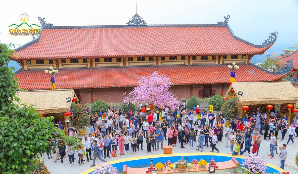 Du khách xin lời Phật dạy và lễ Phật tại vườn A Di Đà