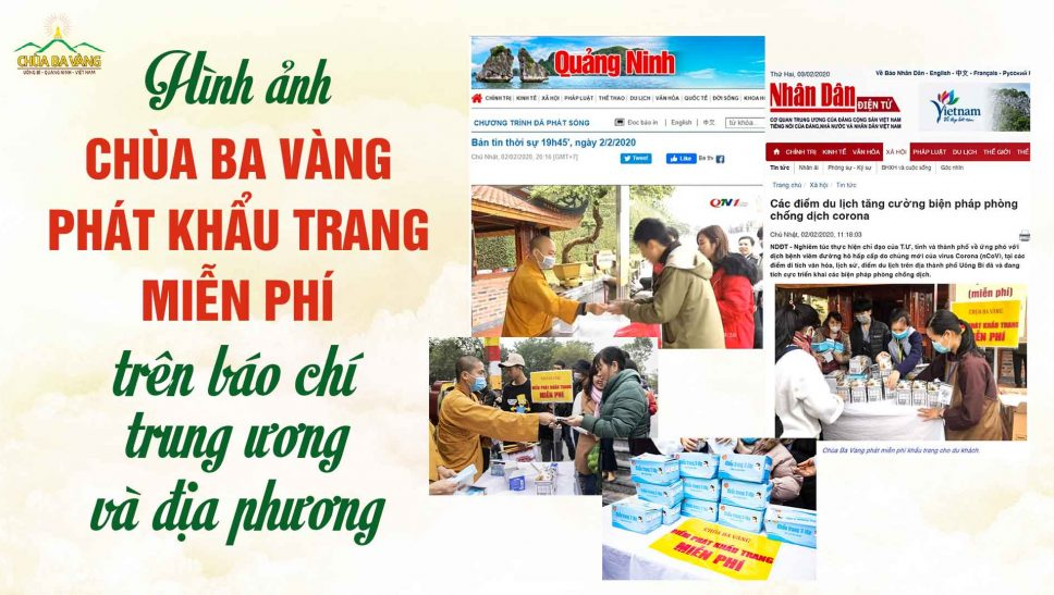 Hình ảnh chùa ba vàng phát khẩu trang miễn phí