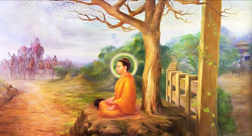 Đức Phật ngồi dưới gốc cây cành lá thưa thớt, ngăn cản vua Lưu Ly sang đánh dòng họ Thích Ca