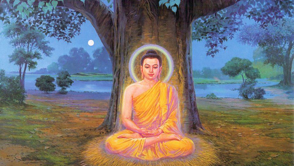 Đức Phật ngồi thiền dưới cội cây bồ đề và sau 49 ngày Ngài đã đắc đạo