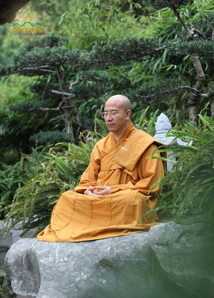 Sư Phụ Thích Trúc Thái Minh ngồi thiền