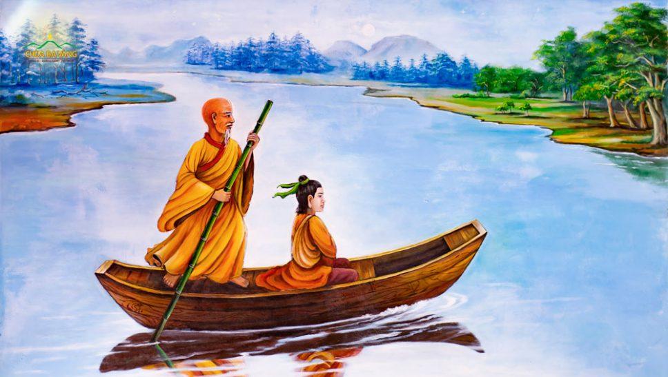 Ngài Ngũ Tổ Hoằng Nhẫn đưa Lục Tổ Huệ Năng qua sông