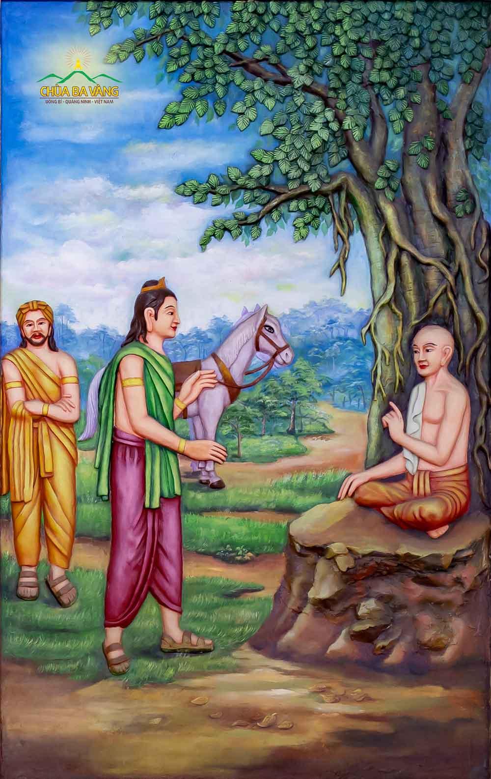 Lần thứ tư, Thái tử gặp một người tu sĩ và ôm ấp nuôi cái mộng sẽ có ngày mình phải xuất gia. Lời tiên tri về cuộc đời Đức Phật (Thái tử) sẽ đi tu đang dần trở thành hiện thực