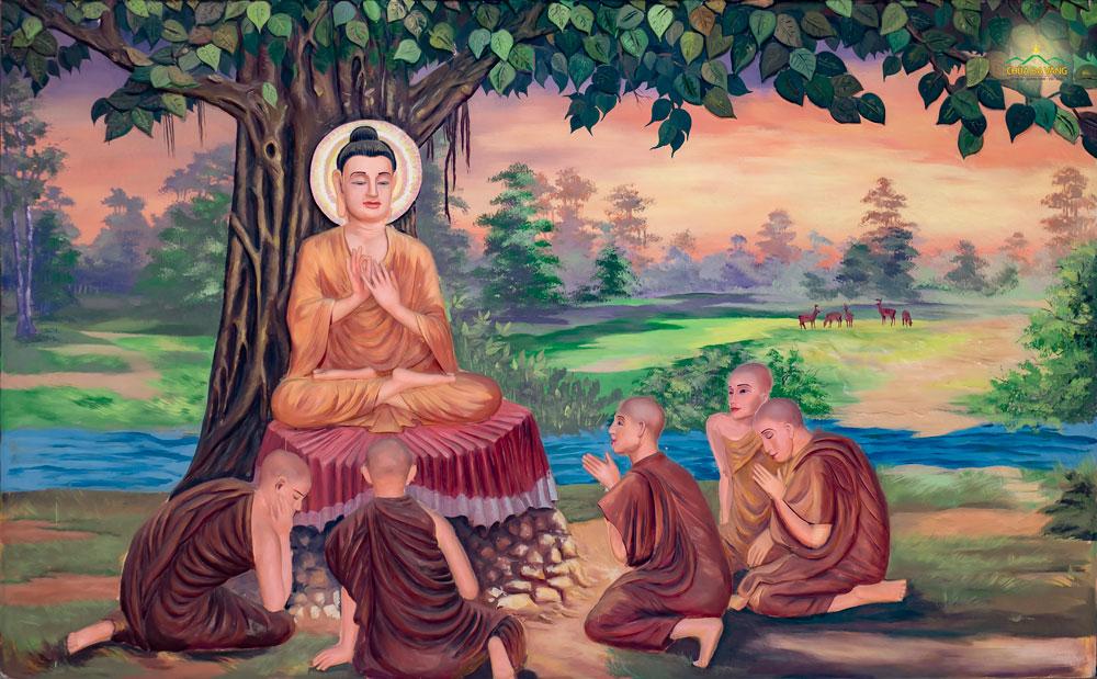 """Đức Phật thuyết bài Pháp đầu tiên - """"Tứ diệu đế"""" cho 5 anh em ông Kiều Trần Như tại khu vườn Lộc Uyển (vườn Nai)"""