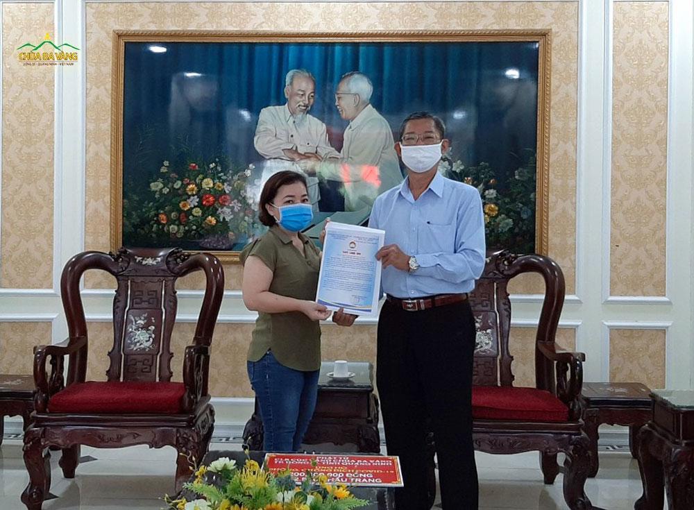 Ban Thường trực Ủy ban Mặt trận Tổ quốc Thành phố đã gửi thư đến Phật tử CLB Cúc Vàng chùa Ba Vàng