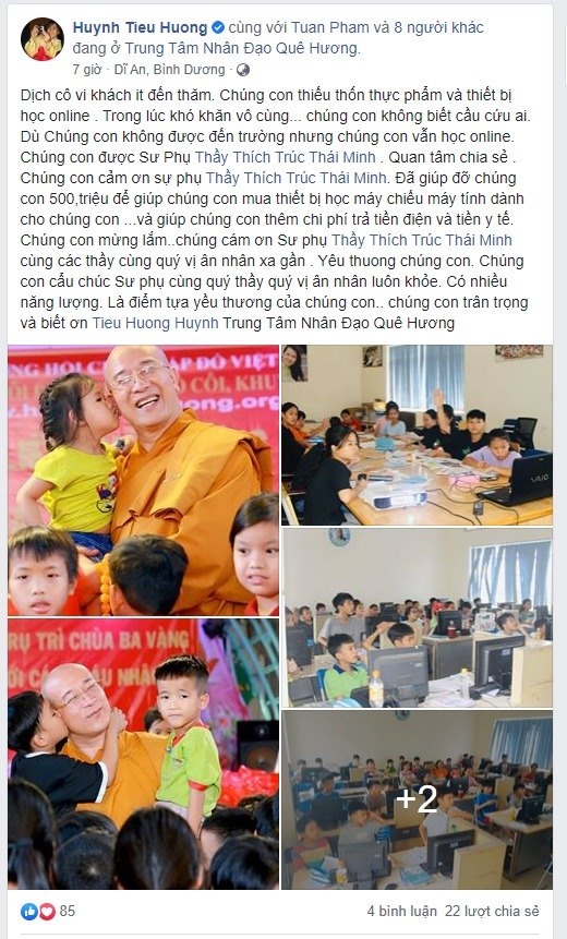 Lời cảm ơn xúc động từ cô Huỳnh Tiểu Hương và các bé trong Trung tâm Nhân đạo Quê Hương trước những sẻ chia, giúp đỡ của Sư Phụ Thích Trúc Thái Minh