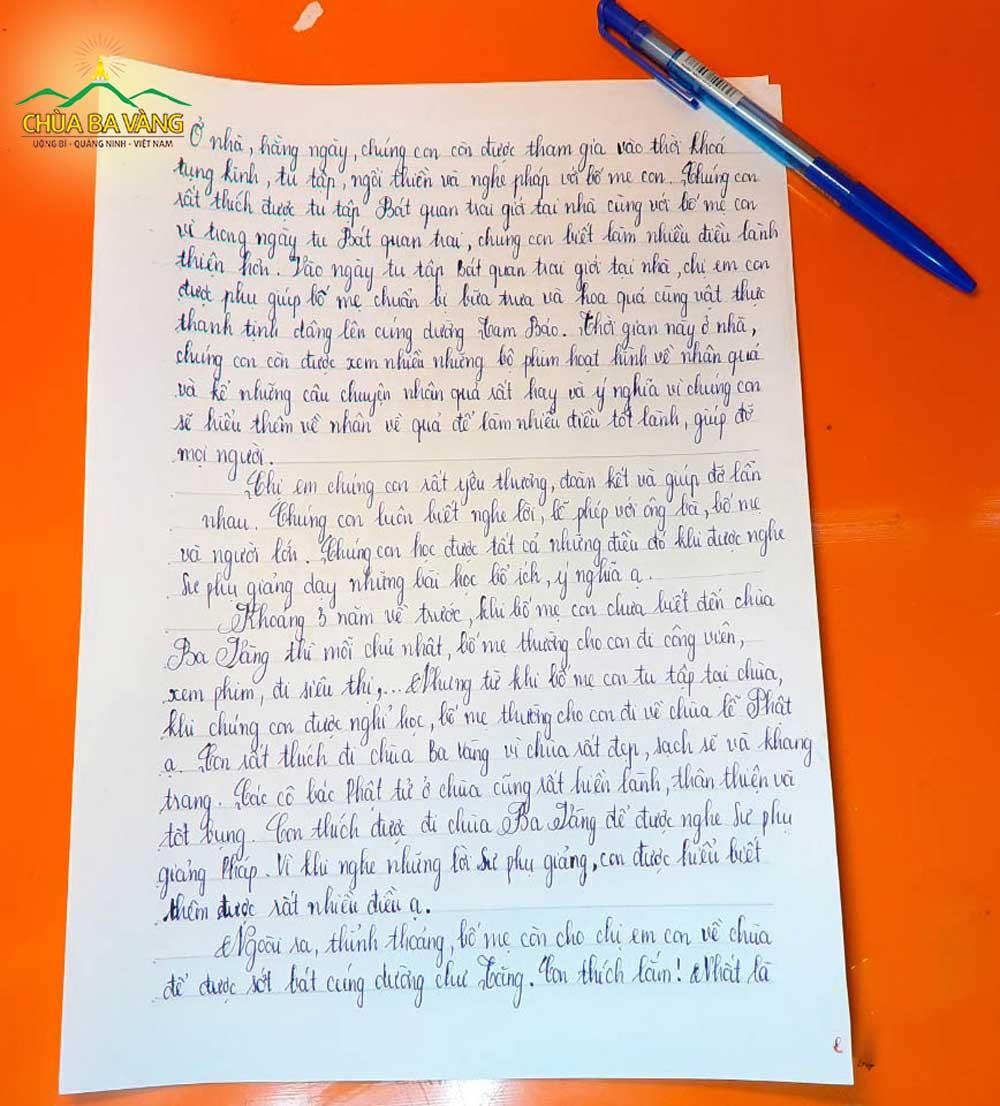 Bức thư của bé Bùi Thị Khánh Vi