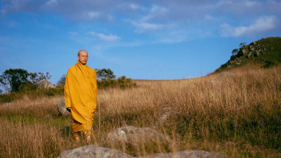 Sư Phụ Thích Trúc Thái Minh tu tập trong rừng hồi hướng và cầu nguyện cho nạn dịch sớm được hóa giải