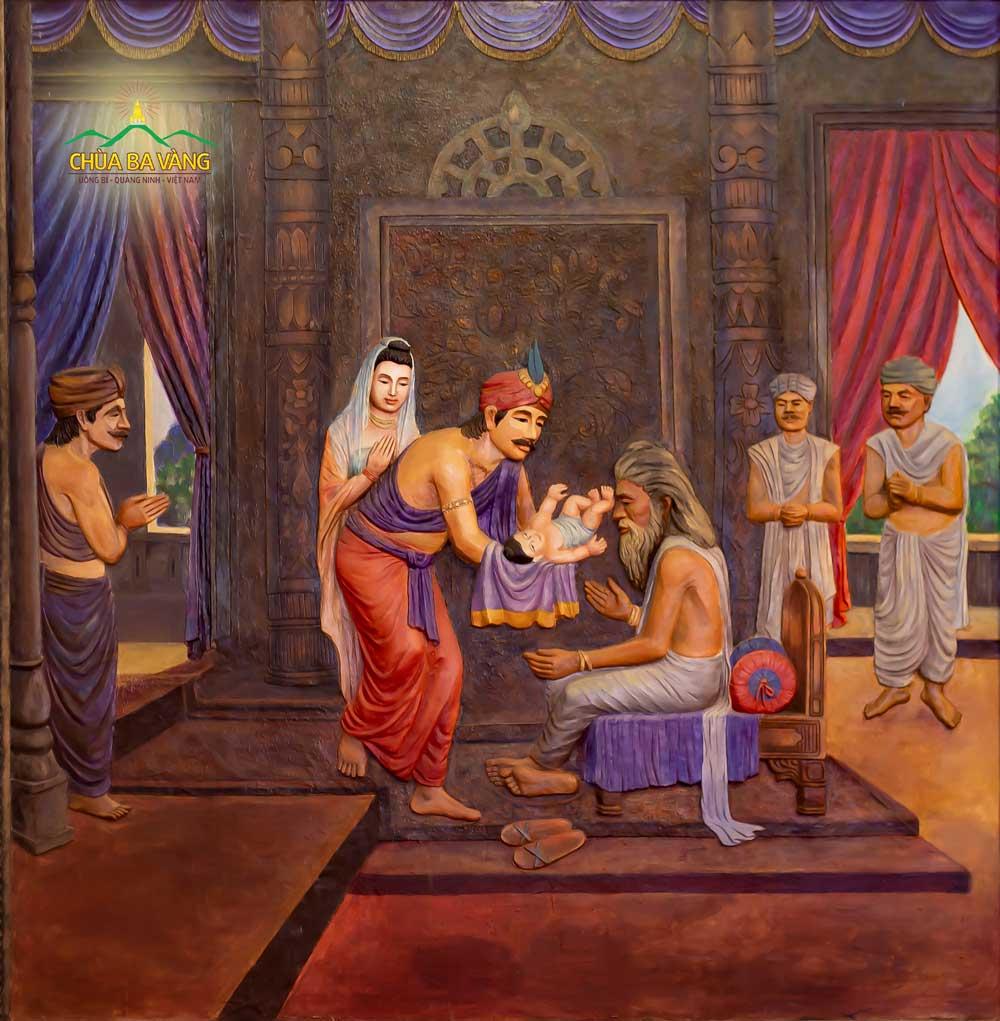 Đạo sĩ A Tư Đà xem tướng cho Thái tử và đưa ra lời tiên tri về cuộc đời Đức Phật (Thái tử Tất Đạt Đa) sau này