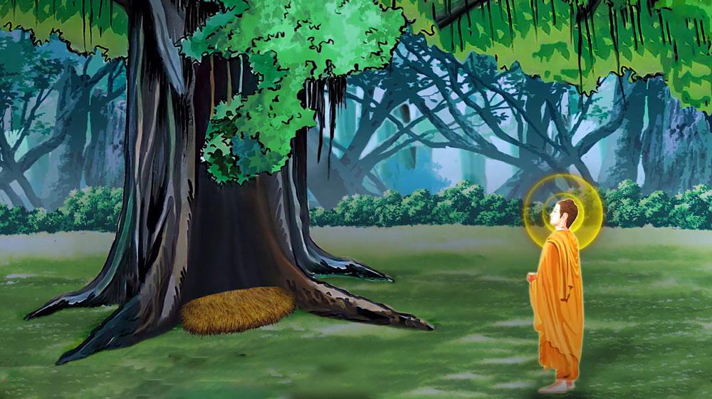 Đức Phật sau khi thành đạo, Ngài hướng tâm tri ân tới cây Bồ Đề đã che nắng, che mưa trong suốt 49 ngày Ngài nhập định (Nguồn: Internet)