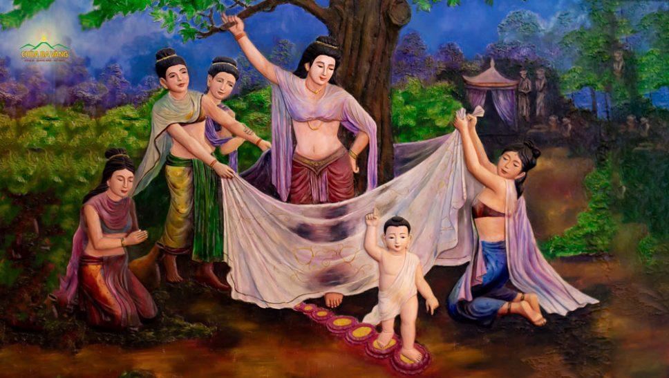 Thực hư 7 bước chân trên hoa sen và ý nghĩa câu nói khi Đức Phật vừa mới đản sinh