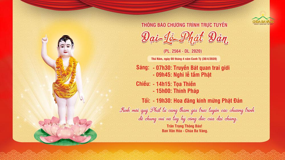 Thông báo chương trình trực tuyến Đại Lễ Phật Đản (PL.2564 - DL.2020)