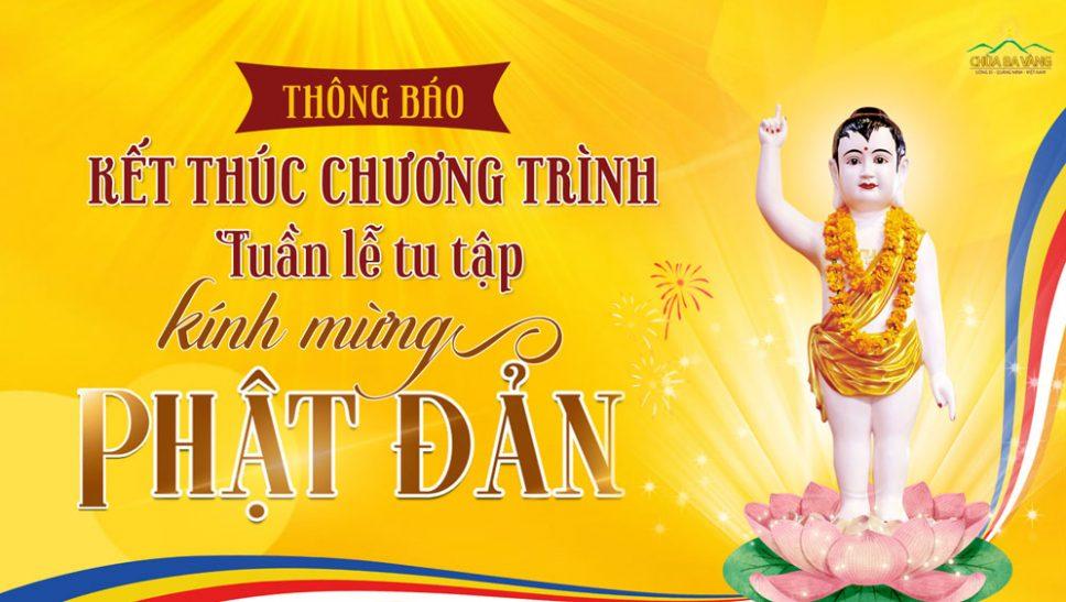 Thông báo kết thúc chương trình tuần lễ tu tập kính mừng Phật đản