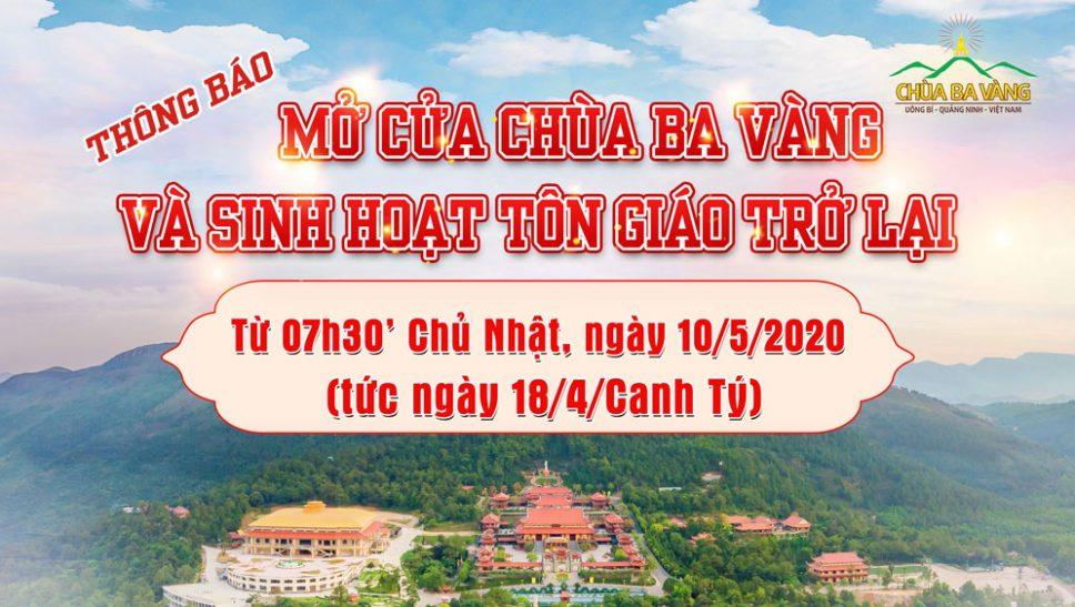 Thông báo mở cửa chùa Ba Vàng và sinh hoạt tôn giáo trở lại