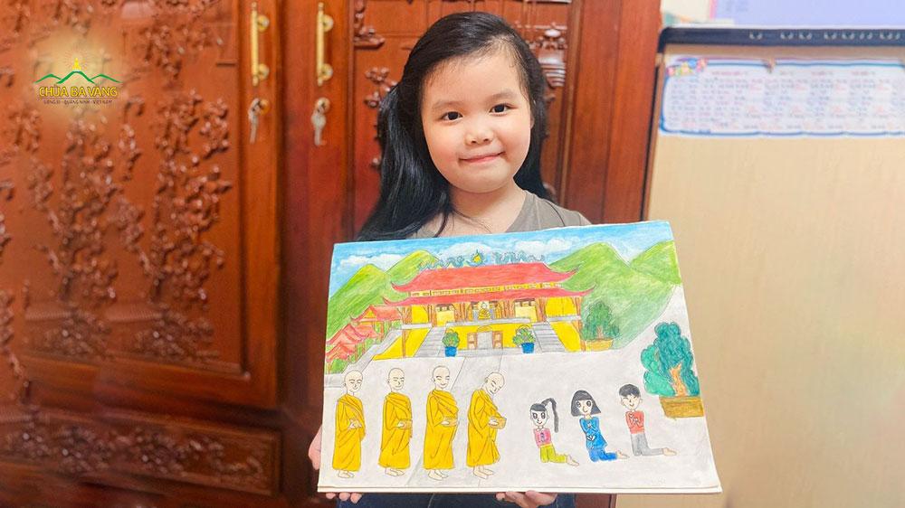 Bé Minh Anh hoàn thành tác phẩm bức tranh chư Tăng trì bình khất thực và rất mong muốn sớm được về chùa Ba Vàng