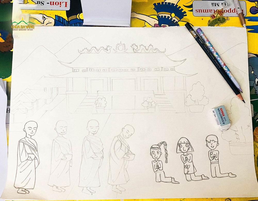Bức vẽ chư Tăng trì bình khất thực được phác thảo bằng bút chì của bé Minh AnhBức vẽ chư Tăng trì bình khất thực được phác thảo bằng bút chì của bé Minh Anh