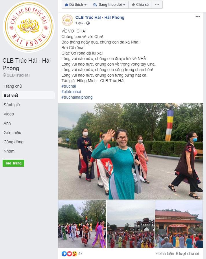 Tài khoản Facebook CLB Trúc Hải - Hải Phòng chia sẻ cảm xúc sau khi được trở về nhà