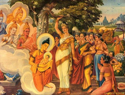Khi Đức Phật đản sanh, chư Thiên dùng khăn của trời để đón Ngài