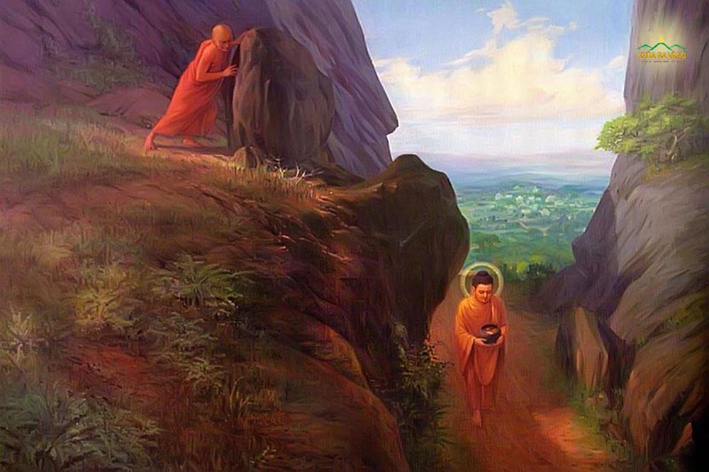 Vì lòng ganh ghét, đố kỵ nên Đề Bà Đạt Đa đã lăn đá từ trên núi cao xuống để hại Phật (ảnh minh họa)