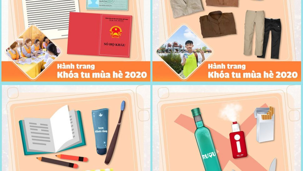 Hành trang về chùa Ba Vàng đăng ký Khóa tu mùa hè 2020