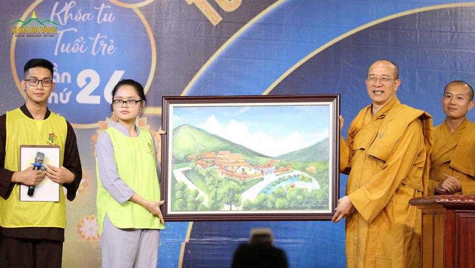 Bức tranh vẽ từ trái tim - CLB Tuổi trẻ Ba Vàng dâng lên Sư Phụ Thích Trúc Thái Minh