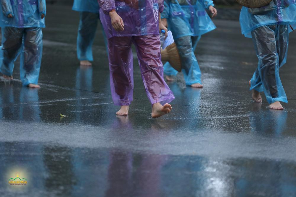 Những bước chân trần an nhiên tự tại của chư Tăng chùa Ba Vàng bước đi kinh hành dưới trời mưa nặng hạt