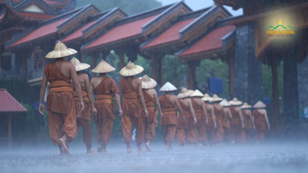 Buổi tu tập xuyên đêm đã kết thúc, Sư Phụ cùng chư Tăng hồi quy Tăng xá dưới những cơn mưa nặng hạt