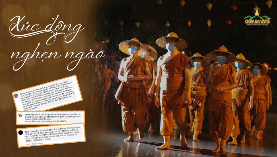 """""""Con đã khóc thật nhiều…"""" - Phật tử chùa Ba Vàng nghẹn ngào khi thấy hình ảnh Sư Phụ cùng chư Tăng tu tập dưới mưa cầu nguyện hóa giải dịch COVID-19"""