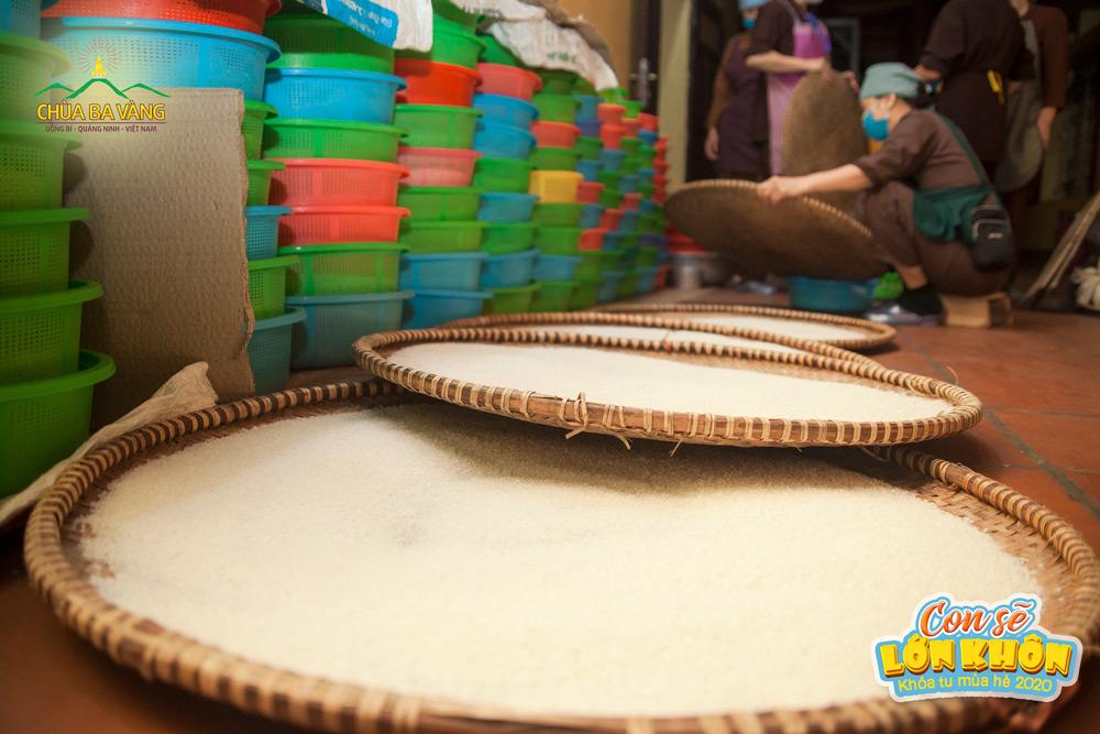 Gạo đã được sàng lọc và được đặt trên những chiếc nia lớn