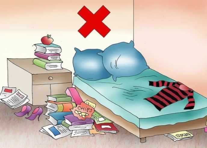 Phòng ngủ không hợp vệ sinh có thể sẽ dẫn đến việc ngủ hay gặp ác mộng (ảnh minh họa)