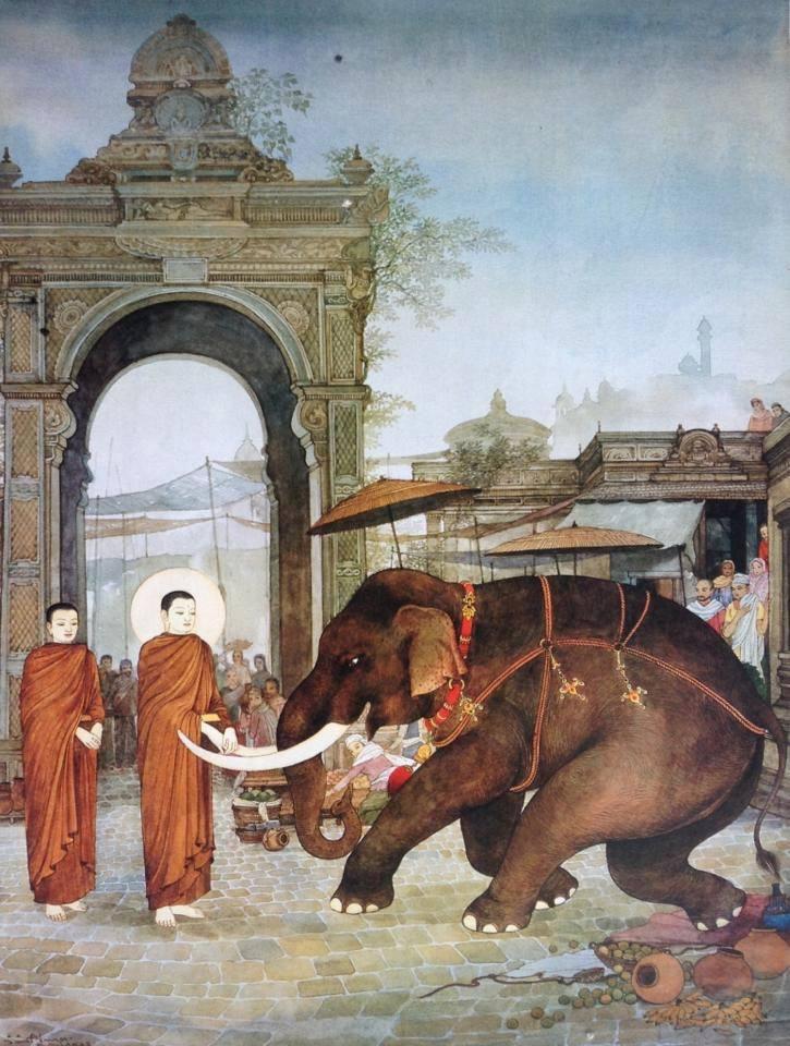 Khi voi điên tấn công Đức Phật, Tôn giả A Nan vẫn luôn bên cạnh Phật không rời (ảnh minh họa)