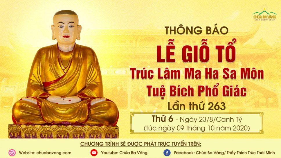 Thông báo lễ giỗ tổ chùa Ba Vàng