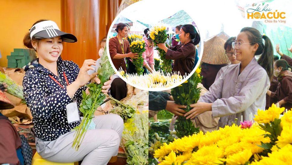 Niềm hạnh phúc của Phật tử khi được chuẩn bị cho lễ hội Hoa Cúc chùa Ba Vàng 2020