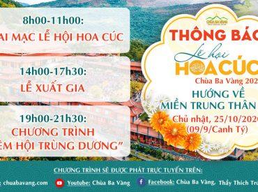 """Thông báo lịch phát sóng trực tiếp """"lễ hội Hoa Cúc chùa Ba Vàng 2020 - hướng về miền Trung thân yêu"""""""